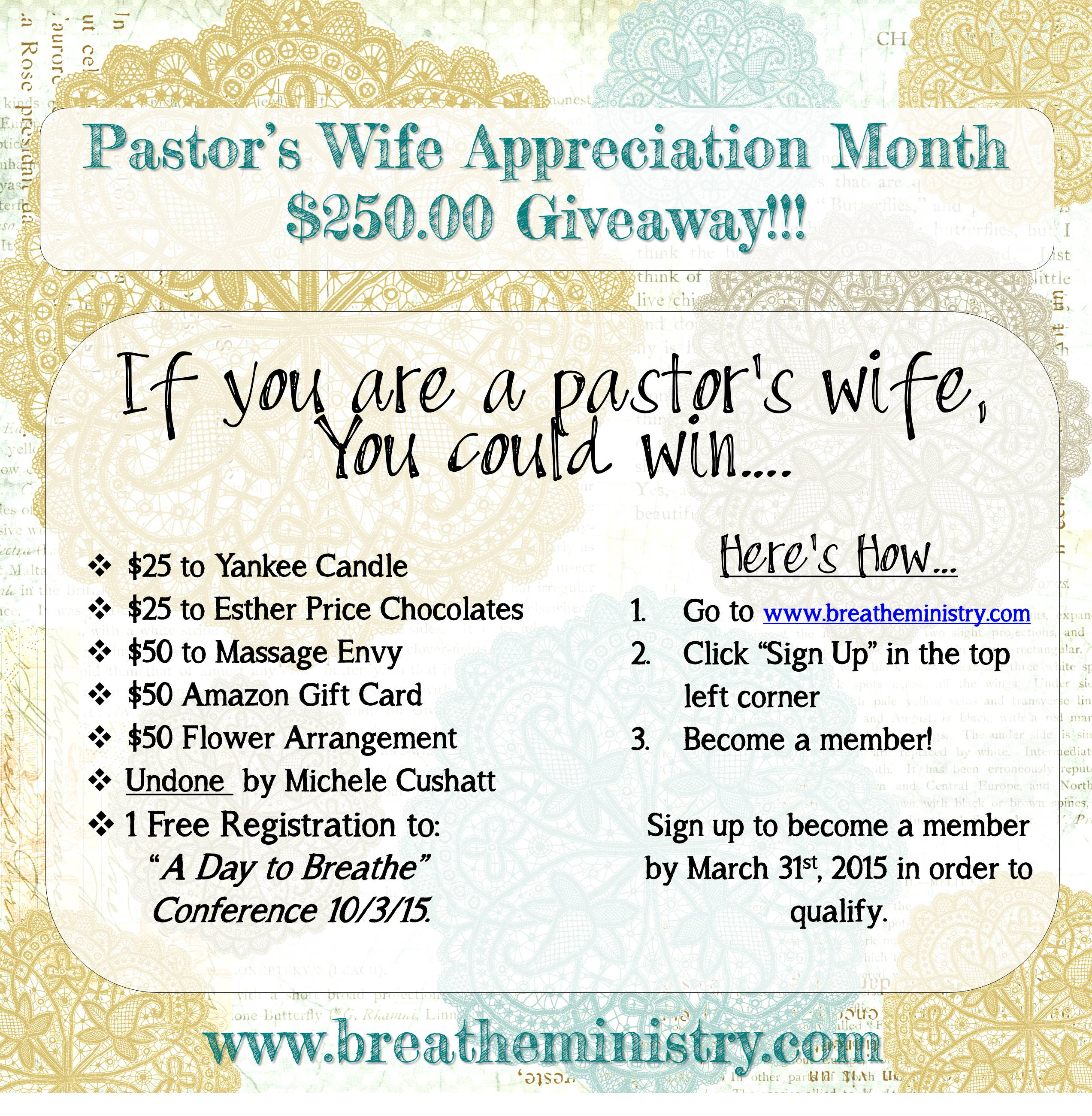 March is Pastor's Wife Appreciation Month! - Breathe Ministry